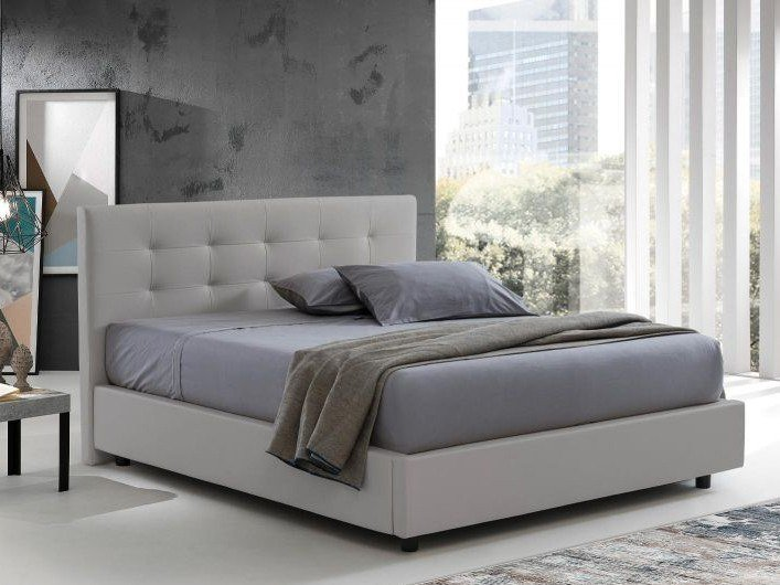 Eco-leather storage bed QUADROTTO TRIPLEX by Lamantin