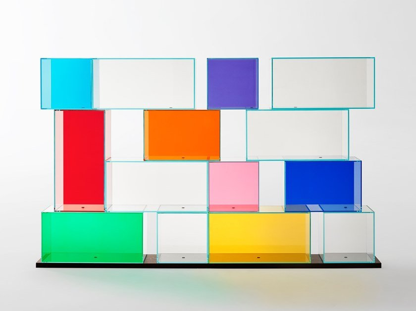 Modular crystal bookcase QUANTUM by Glas Italia