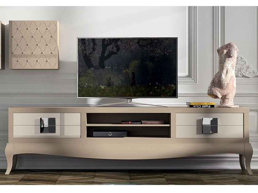 Lacquered beech TV cabinet with drawers QUANTUM PLAIN by BeKreative