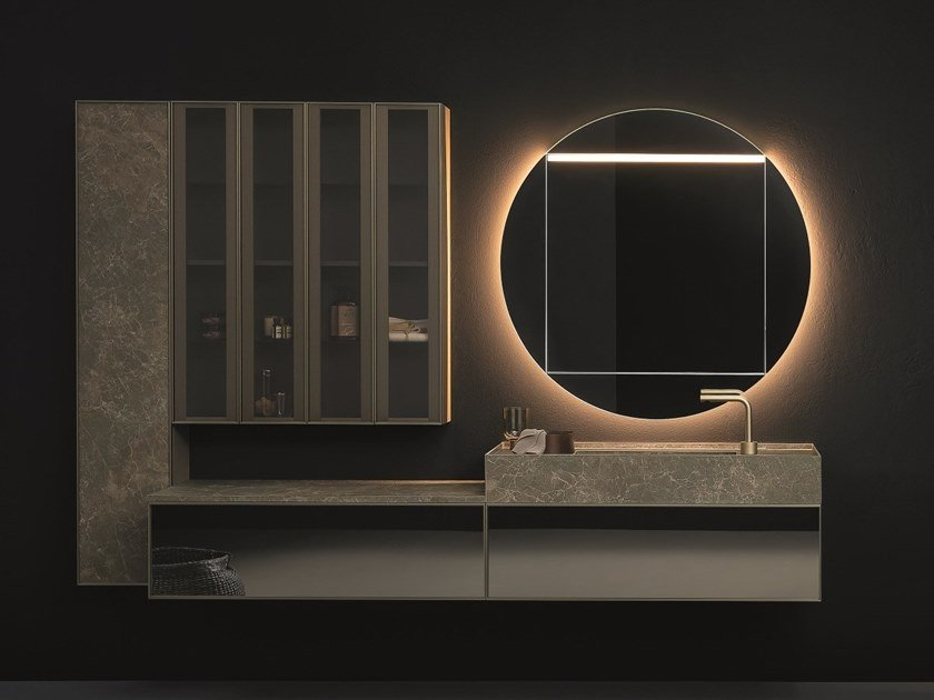 Wall-mounted vanity unit with mirror SAN POLO by NOVELLO