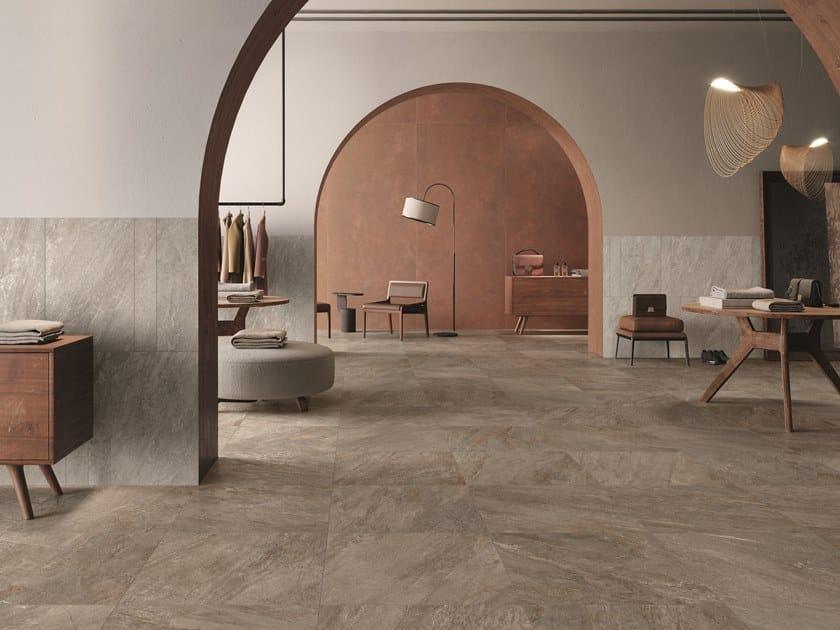 Pavimento/rivestimento in gres porcellanato effetto pietra QUARTZ ESSENCE by Ceramiche Caesar