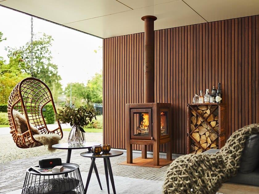 Wood-burning outdoor freestanding Corten™ fireplace QUARUBA WALL by RB73