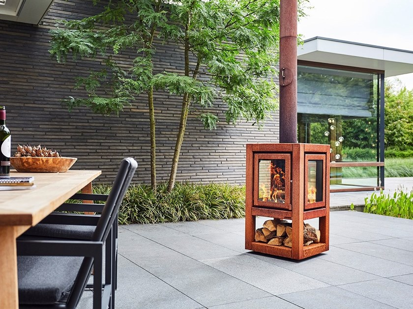 Wood-burning outdoor freestanding Corten™ fireplace QUARUBA XL MOBILE by RB73