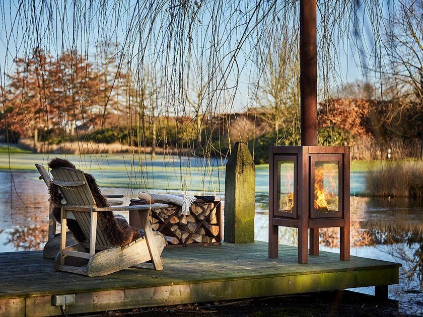 Wood-burning outdoor freestanding Corten™ fireplace QUARUBA XXL by RB73