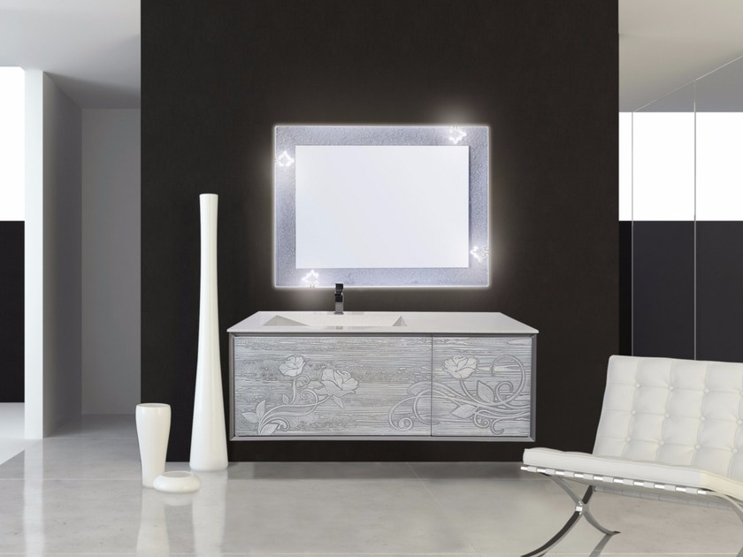 Lacquered wall-mounted vanity unit with mirror QUARZO CM01Q by LA BUSSOLA