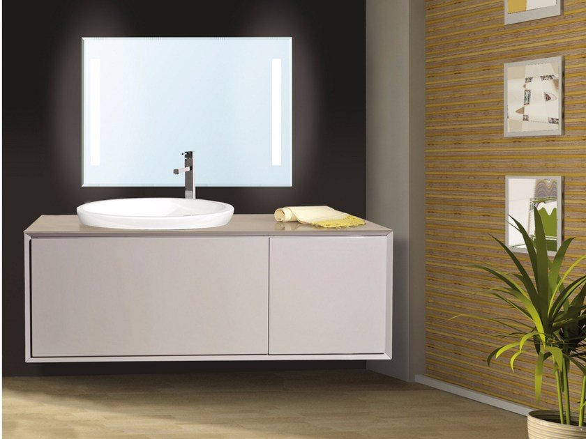 Lacquered wall-mounted vanity unit with mirror QUARZO CM02Q by LA BUSSOLA