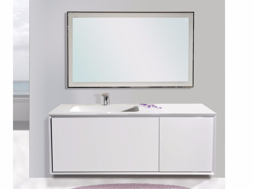 Lacquered wall-mounted vanity unit with mirror QUARZO CM04Q by LA BUSSOLA