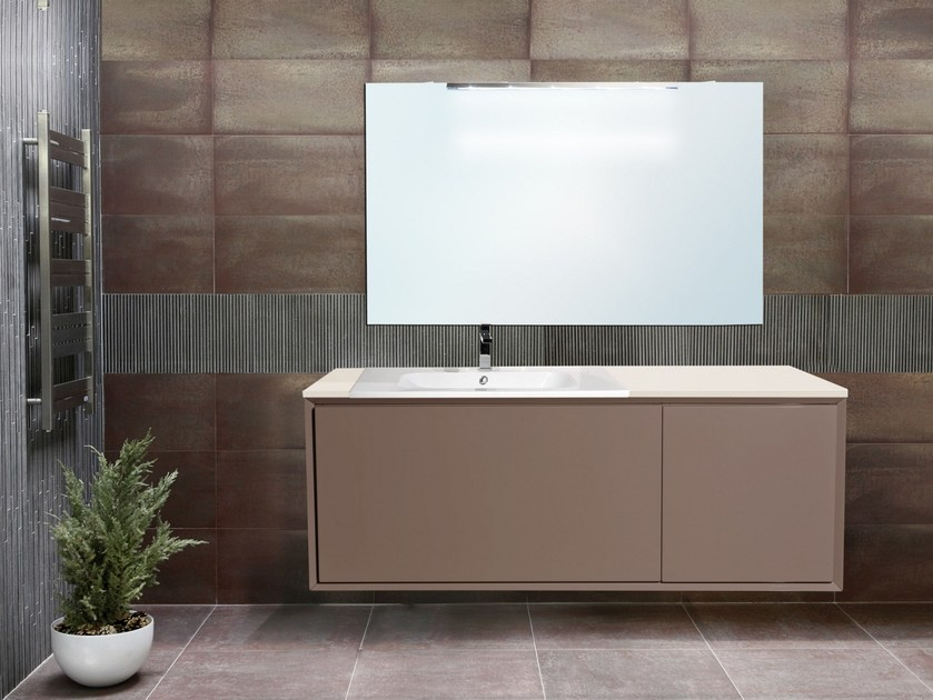 Lacquered wall-mounted vanity unit with mirror QUARZO CM05Q by LA BUSSOLA