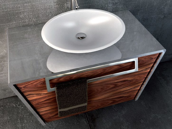 Wall-mounted stainless steel and wood vanity unit QUATTORDICI   Wall-mounted vanity unit by Componendo