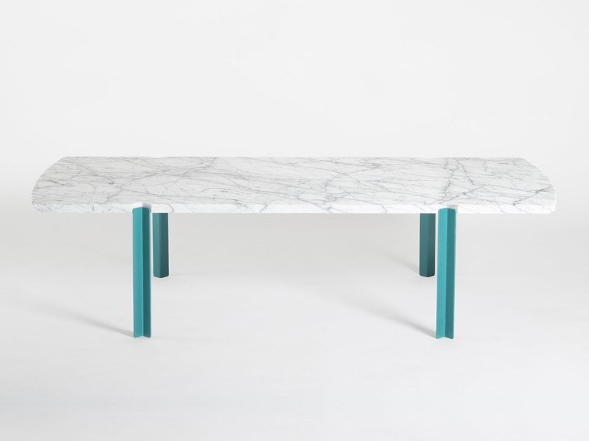 Rectangular marble coffee table QUATTRO CANTONI by Objekto