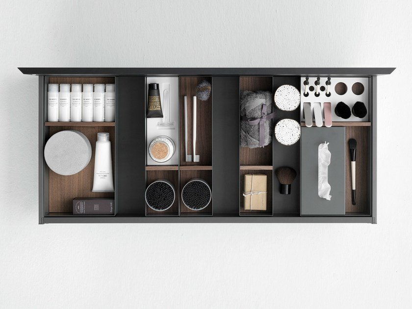 Drawer containers in metal, wood and Cristalplant® QUATTRO.ZERO | Drawers divider by FALPER