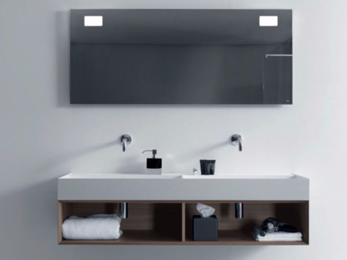 Double wall-mounted wooden vanity unit with mirror QUATTRO.ZERO   Wooden vanity unit by FALPER