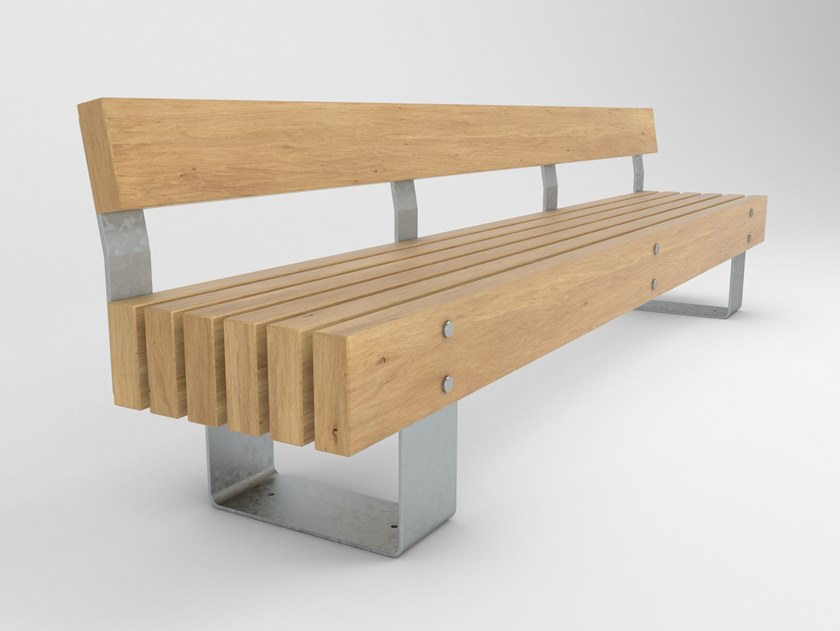 Remarkable Steel And Wood Bench With Back Quay Seat By Factory Gmtry Best Dining Table And Chair Ideas Images Gmtryco