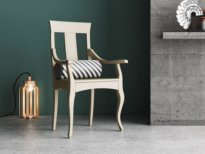 Solid wood chair with armrests QUEEN P by Imperial Line