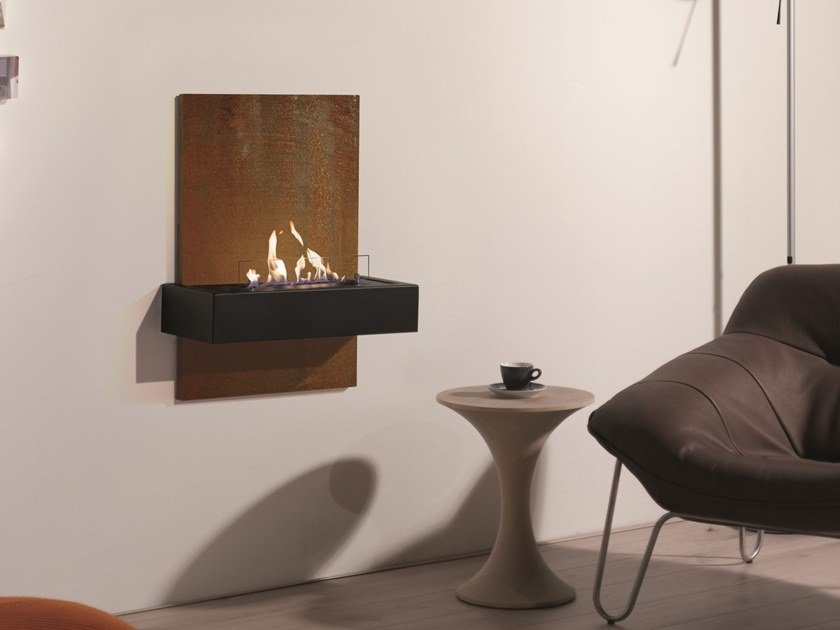 Bioethanol wall-mounted vent free metal fireplace QUERO by BRITISH FIRES