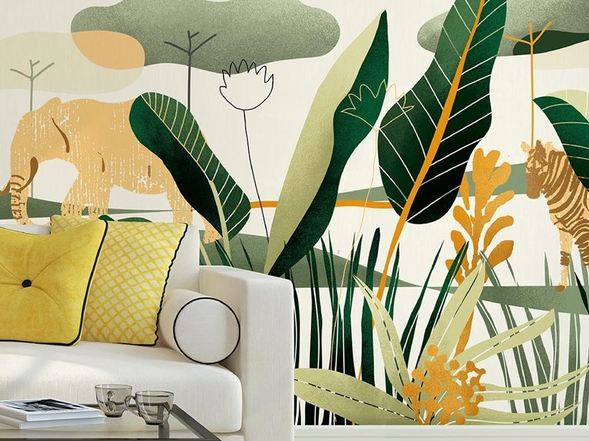 Tropical wallpaper, PVC free, eco, washable QUIETNESS by Wallpepper