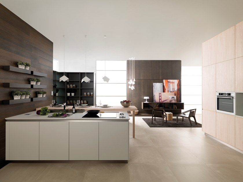 Lacquered kitchen with integrated handles with peninsula R.170 ETIMOE ICE by Gamadecor