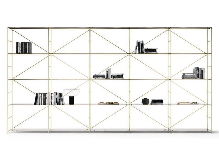 Shelving system with powder coated steel structure R.I.G. MODULES by MA/U STUDIO