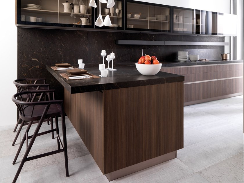 Contemporary style wooden kitchen with integrated handles with peninsula R1.60 EUCALYPTUS CANDY by Gamadecor