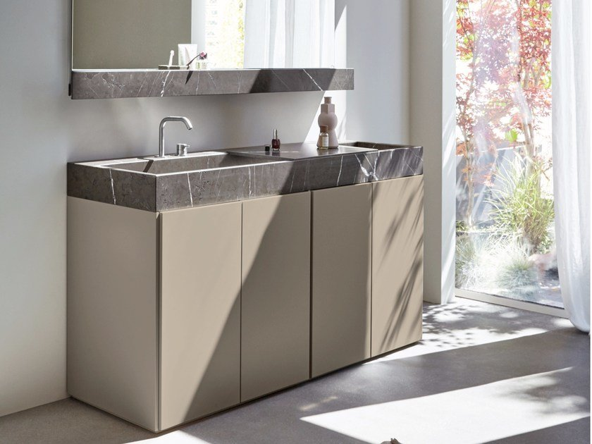 Lacquered single vanity unit R1 | Rectangular washbasin by Rexa Design
