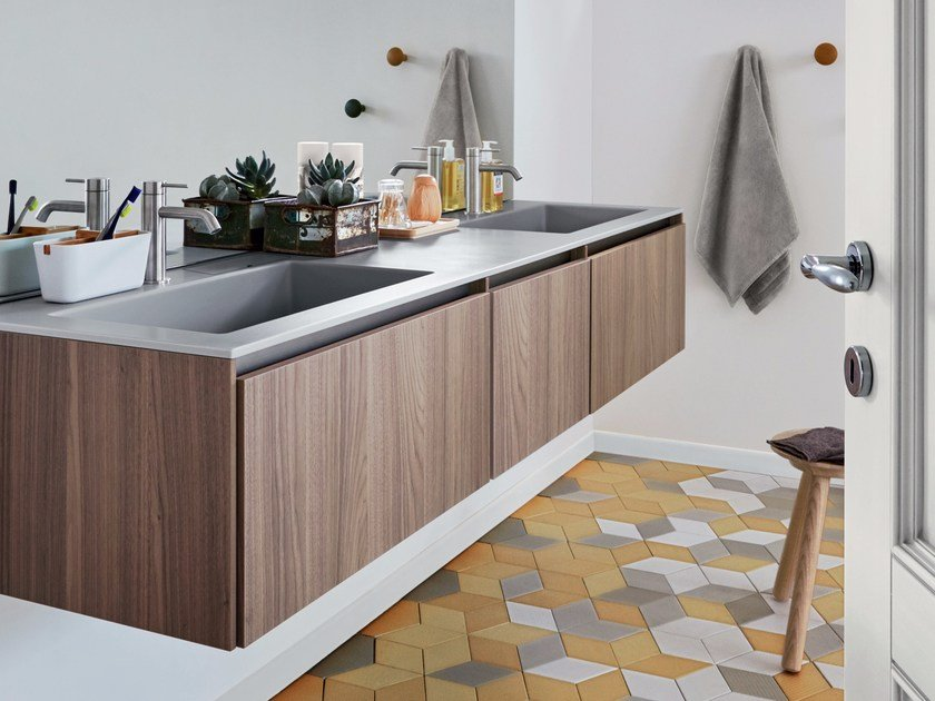 Wall-mounted walnut vanity unit with drawers R1 | Wall-mounted vanity unit by Rexa Design