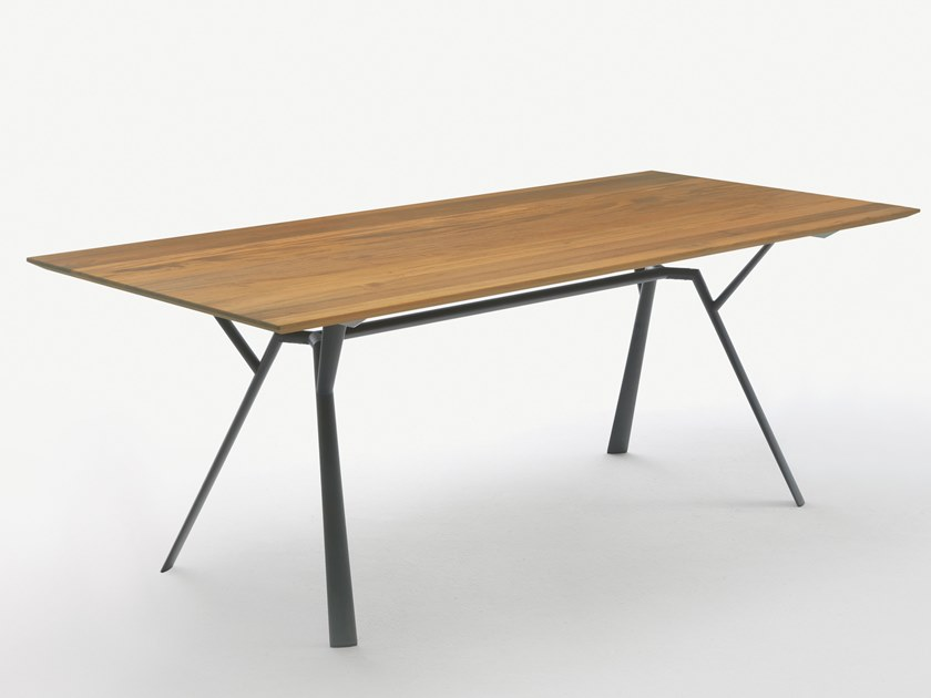 Rectangular aluminium and wood garden table RADICE QUADRA | Aluminium and wood table by FAST