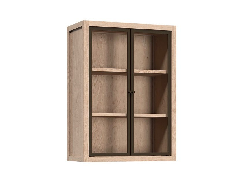 Wooden wall cabinet with glass door with shelves RADIX | Wall cabinet with glass door by Coquo