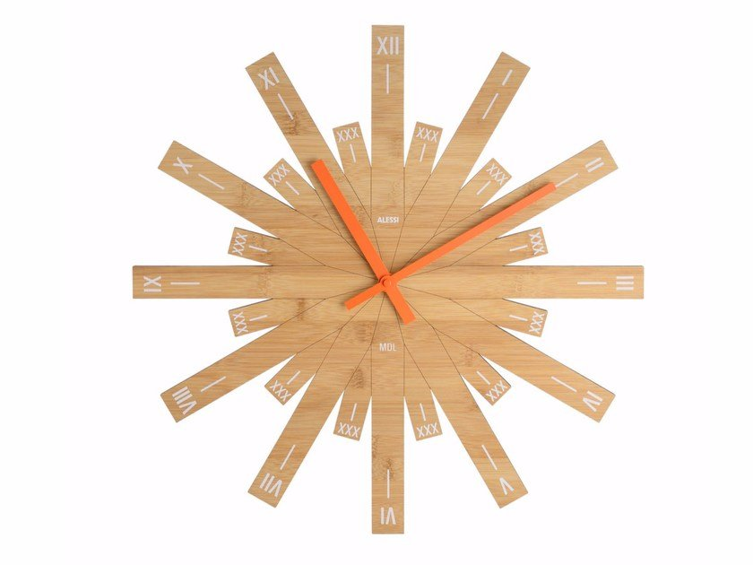 Wall-mounted bamboo clock RAGGIANTE by Alessi
