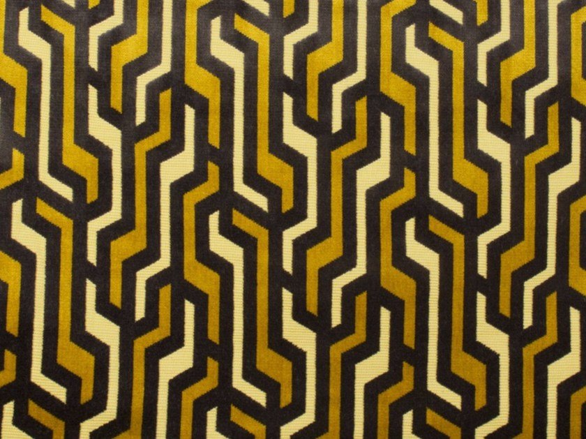 Velvet fabric with graphic pattern RAILS by Gancedo