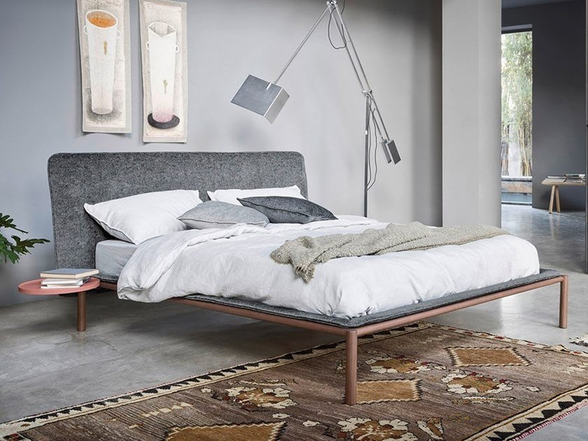 Fabric bed double bed with upholstered headboard RAIN by Novamobili