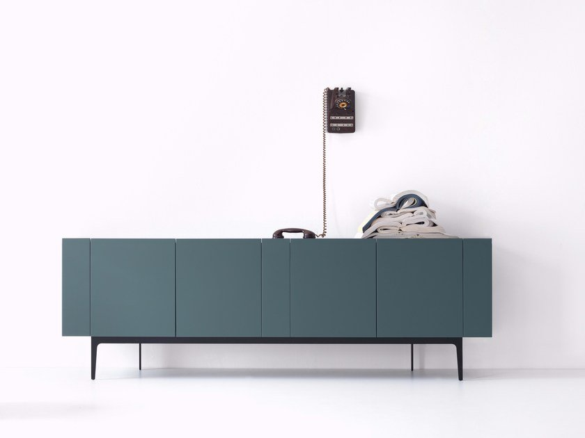Lacquered wooden sideboard with doors RAINBOW by Lema