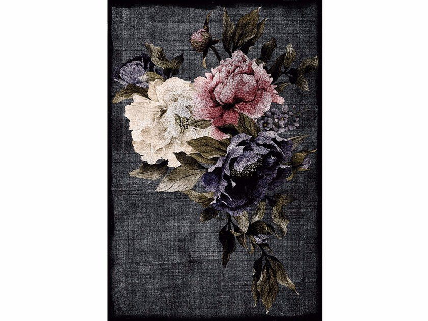 Rectangular polyamide rug with floral pattern RAINBOW ROSE by Adriani e Rossi edizioni