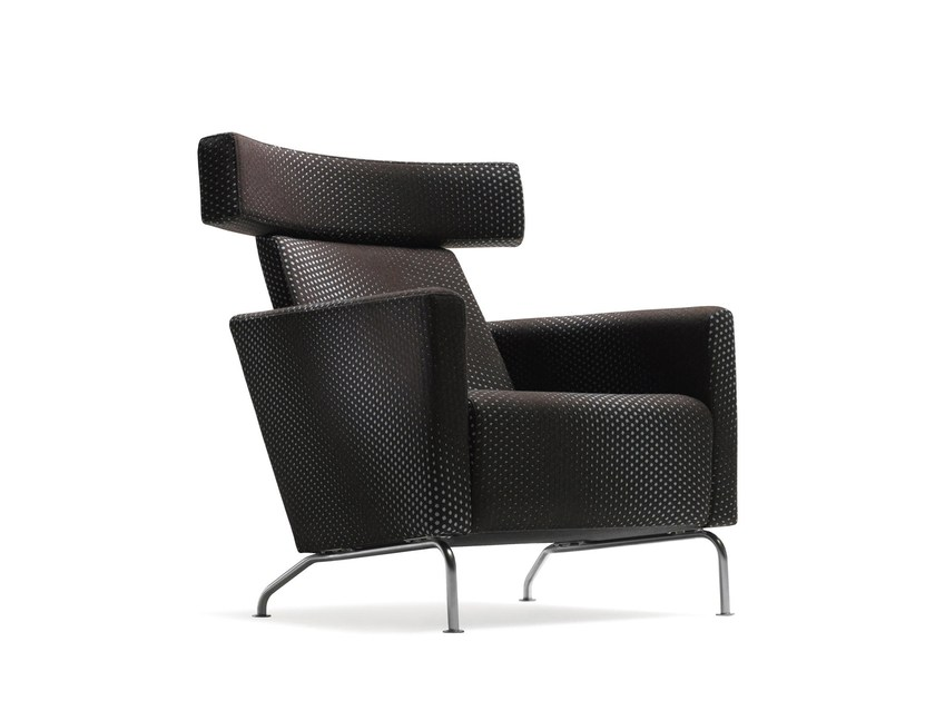 Upholstered fabric armchair with armrests with headrest RAM HIGH | Fabric armchair by Stouby