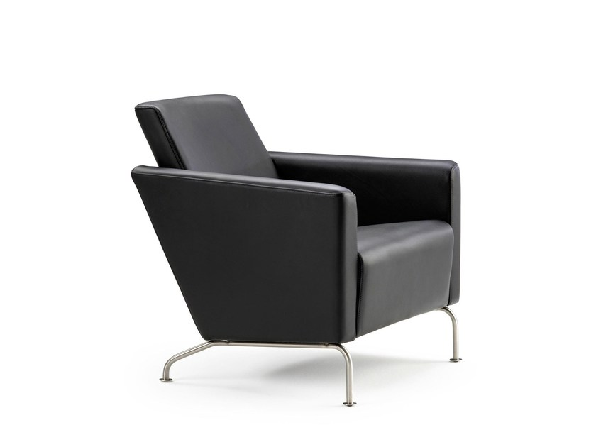 Upholstered leather armchair with armrests RAM | Leather armchair by Stouby