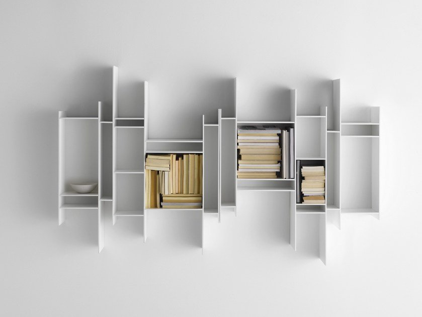 open wall mounted mdf bookcase randomito by mdf italia. Black Bedroom Furniture Sets. Home Design Ideas