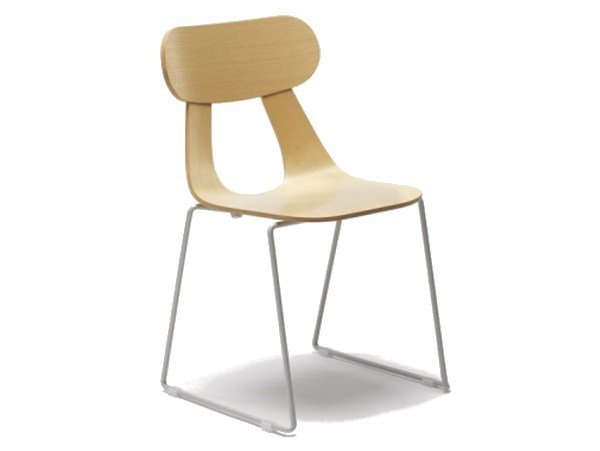 Sled base stackable ash chair RAPA M by Zilio A&C
