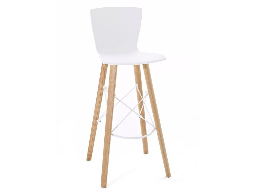 High wooden stool RAPWOOD.SS by Colico