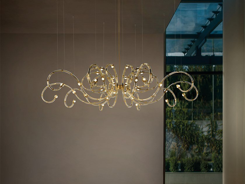 LED direct-indirect light metal chandelier RAQAM A by Masiero