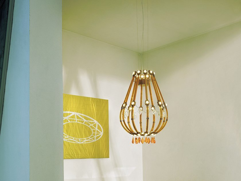 LED direct-indirect light metal pendant lamp with crystals RAQAM E by Masiero