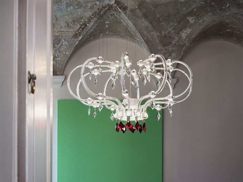 LED direct-indirect light metal chandelier with crystals RAQAM F by Masiero