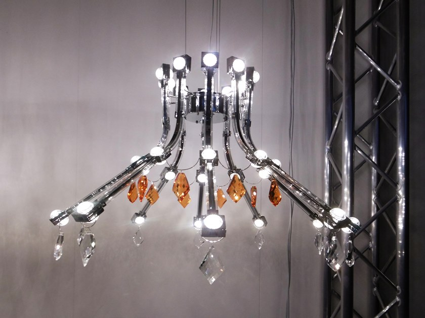 Contemporary style LED direct-indirect light metal pendant lamp with crystals RAQAM G by Masiero