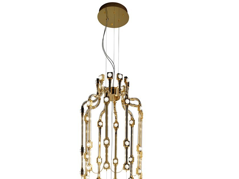 Contemporary style LED direct-indirect light metal pendant lamp with crystals RAQAM H by Masiero