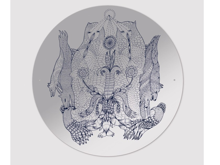 Round wall-mounted mirror RARARA by Moustache