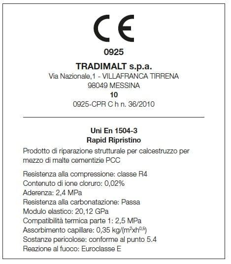 Certificazione UNI EN 1504 - 2