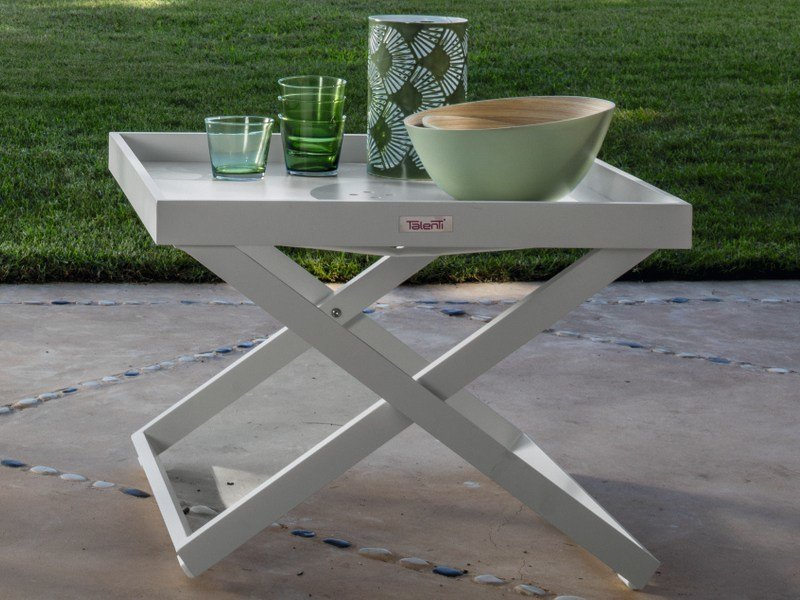 Aluminium garden side table with tray RAY | Garden side table by Talenti