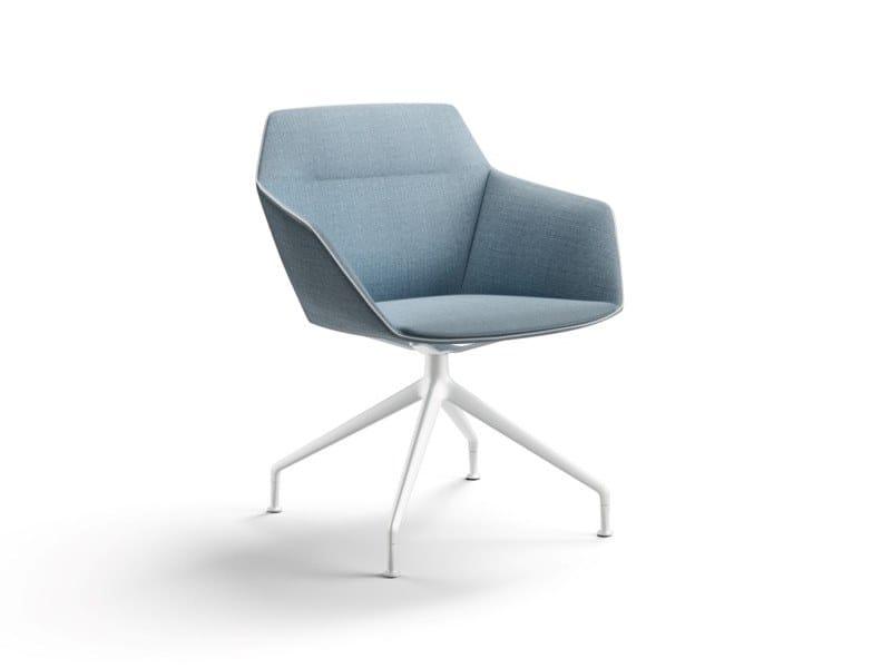 Upholstered trestle-based fabric easy chair with armrests RAY SOFT | Trestle-based easy chair by Brunner