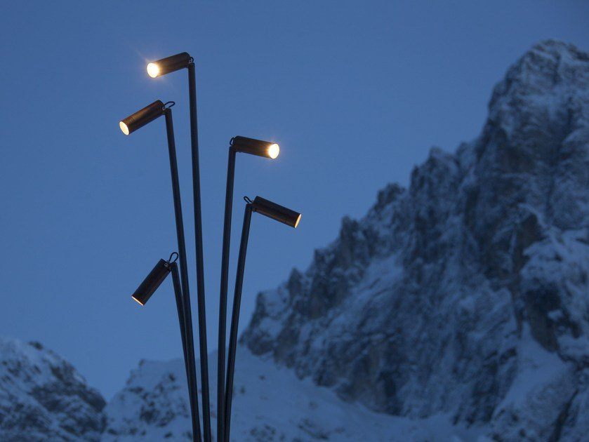 LED galvanized steel garden lamp post REANUZZA by Brillamenti