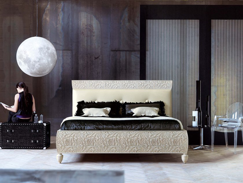 Double bed with upholstered headboard REBECCA | Bed by Bizzotto