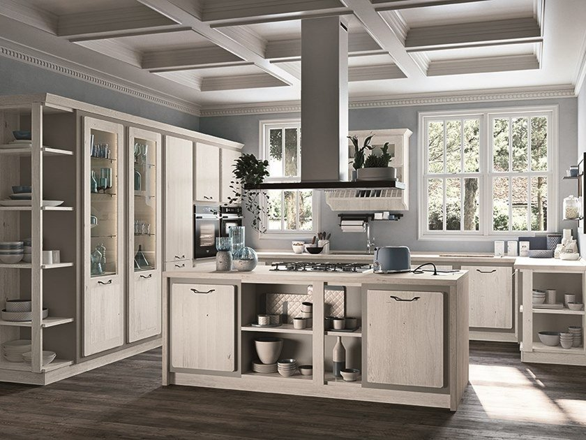Wooden kitchen with handles REBECCA by Cucine Lube