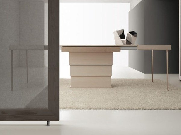 Height-adjustable extending wooden table REBUS by Bauline